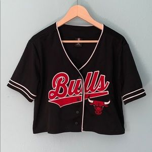 Chicago Bulls Size Medium Black Crop Jersey Top